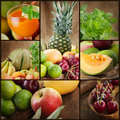 Fresh fruit and juice collage Stock Photo