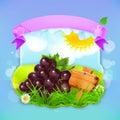 Fresh fruit label grape vector illustration background for making design of a juice pack jam jar etc Stock Images