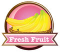 A fresh fruit label with ripe bananas Royalty Free Stock Photography