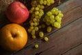Fresh fruit on old wood. Royalty Free Stock Photo