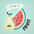Fresh fruit pear and watermelon vintage background Stock Photos
