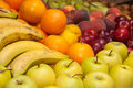 Fresh fruit produce bananas apples plums peaches pears Royalty Free Stock Images