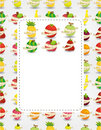 Fresh fruit and ruler health card Royalty Free Stock Images