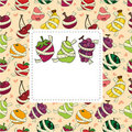 Fresh fruit and ruler health card Royalty Free Stock Image