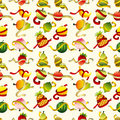 Fresh fruit and ruler health seamless pattern Royalty Free Stock Images