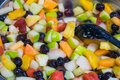 Fresh fruit salad colourful seen in a supermarket Royalty Free Stock Photos