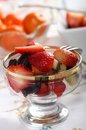 Fresh fruit salad in a glass bowl Royalty Free Stock Image