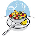 Fresh fruit salad and lemon Royalty Free Stock Photos