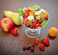 Fresh fruit salad made ​​of organic fruits Royalty Free Stock Photos
