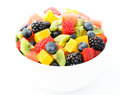 Fresh fruit salad mix in white bowl Stock Photo