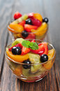Fresh fruit salad with strawberry kiwi and blueberry Royalty Free Stock Photography