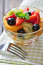 Fresh fruit salad with strawberry kiwi and blueberry Stock Photography
