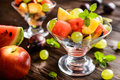 Fresh fruit salad with watermelon, plums, nectarines and grape Royalty Free Stock Photo