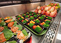 Fresh fruit salads and vegetables healthy choices of for school lunch Royalty Free Stock Image