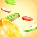 Fresh fruit slices illustration of colorful Stock Photography