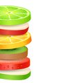 Fresh fruit slices illustration of colorful Royalty Free Stock Photography
