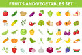 Fresh Fruit and Vegetable icon set, flat, cartoon-style. Berries and herbs on white background. Farm products