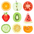 Fresh fruit and vegetable slices Royalty Free Stock Photo