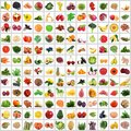 Fruit and vegetables collage on white background Royalty Free Stock Photo