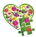 Fresh fruit and vegetables heart with puzzles Royalty Free Stock Photo