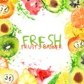 Fresh fruit watercolor banner. Watercolored apple, citruses, avocado and qiwi in one banner