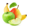 Fresh fruits apple pear and banana over white background Royalty Free Stock Photos