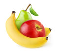 Fresh fruits banana apple and pear isolated on white Royalty Free Stock Photos
