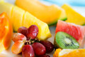 Fresh fruits and berries close up of tropical Stock Images