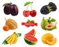 Fresh fruits and berries. Plum, cherry, blackberry, physalis, figs, banana, watermelon, melon. 3d realistic vector set
