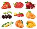 Fresh fruits and berries. Strawberry, raspberry, pomegranate, cherry, apricot, banana, orange, mango. 3d realistic vector set Royalty Free Stock Photo