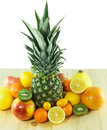 Fresh fruits a bunch of on the wooden table Royalty Free Stock Photography