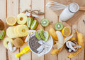 Fresh fruits and coconut milk Royalty Free Stock Photo
