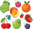 Fresh Fruits Icons Stock Images