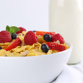 Fresh fruits with milk and cornflakes for breakfast like strawberries Stock Photography