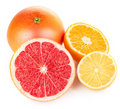 Fresh fruits orange lemon grapefruit in cut Stock Images