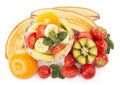Fresh fruits salad bananas kiwi and strawberry and glass bowl with close up Stock Photos