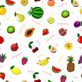 Fresh fruits seamless pattern with pear watermelon kiwi and garnet vector illustration Stock Photos