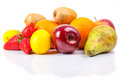 Fresh fruits selection over white Stock Photography