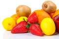 Fresh fruits selection over white Stock Images
