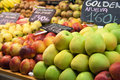 Fresh fruits in a spanish market apple and Stock Images