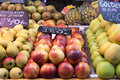 Fresh fruits in a spanish market apple and Royalty Free Stock Image