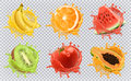 Fresh fruits and splashes, 3d vector icon set