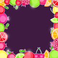 Fresh fruits in square frame dark violet invitation card Royalty Free Stock Images