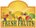 Fresh Fruits Stand Signage with Sun Illustration Stock Photo
