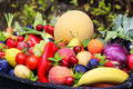 Fresh Fruits and vegetables basket Royalty Free Stock Photo
