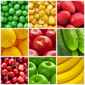 Fresh fruits and vegetables collage Royalty Free Stock Photo