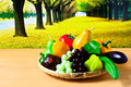 Fresh fruits and vegetables colorful for a balanced diet Royalty Free Stock Images