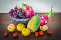 Fresh fruits and vegetables many on table still life Stock Photos