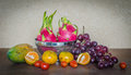Fresh fruits and vegetables many on table still life Royalty Free Stock Images