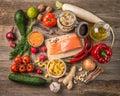 Fresh fruits and veggies, salmon, topshot Royalty Free Stock Photo